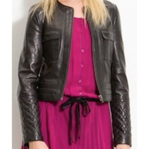 ⭐️Trouve Leather Moto Quilted Sleeve Jacket